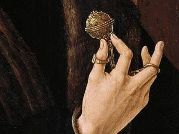 Detail of 16th Cent. Dutch painting showing J. G. van Egmond holding a pomander
