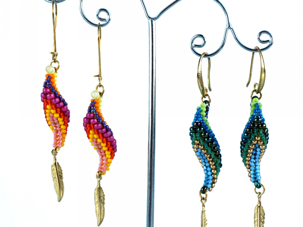 Parrot Earrings with feather charms