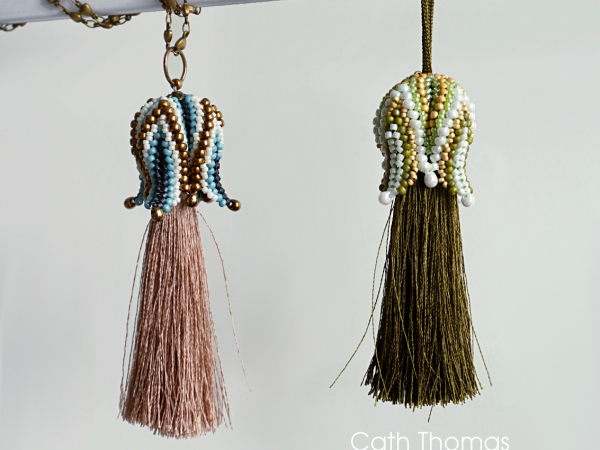 Blue/bronze and green/cream Tulip Tassels