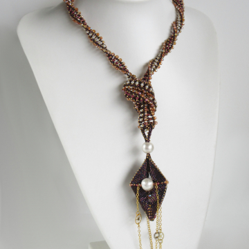Long knotted RCR lariat with Paradox Pendulum